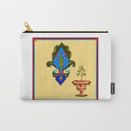 Fleur de Lis in blues and terra cotta urn Carry-All Pouch