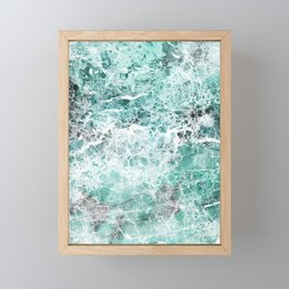Sea foam teal marble Framed Mini Art Print