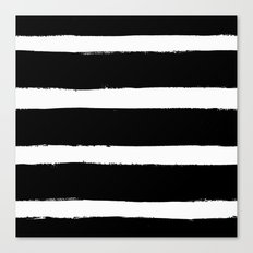 Black & White Paint Stripes by Friztin Canvas Print