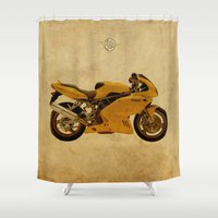 ducati Shower Curtains featuring Ducati Apollo 1963 by Larsson Stevensem