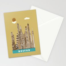 boston skyline vintage Stationery Cards