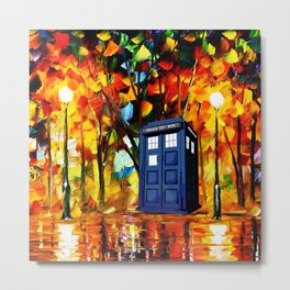 Tardis starry night in the forest Metal Print
