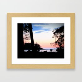 Pink Skies at Night - Deception Pass State Park, Whidbey Island, WA Framed Art Print