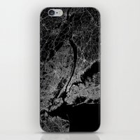 new york map iPhone & iPod Skins featuring New York map by Line Line Lines