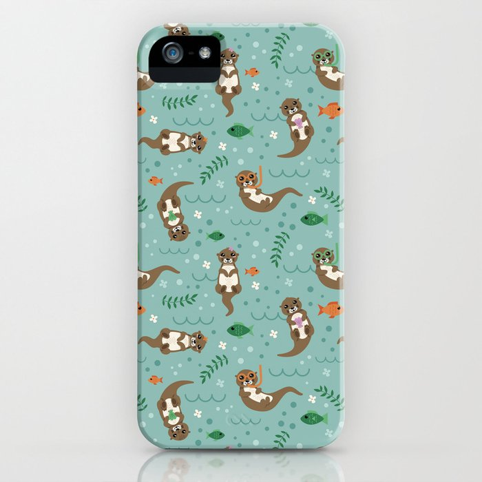 Kawaii Otters Playing Underwater iPhone Case