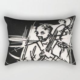 Bossa Pizzicato Jazz Bassist Black and White Block Print Rectangular Pillow