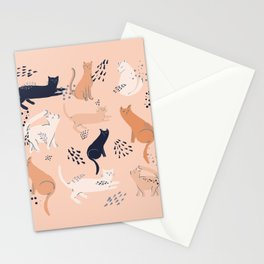 Cats in pink Stationery Cards