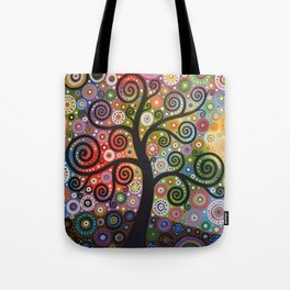 Abstract Art Landscape Original Painting ... Tree of Wishes Tote Bag