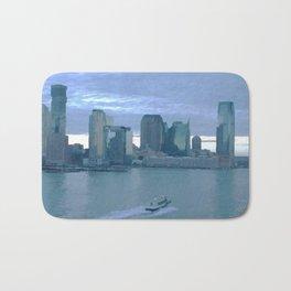 New York Boat Cityscape Bath Mat