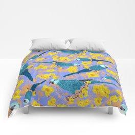 Spix Macaw Flower Power Comforters