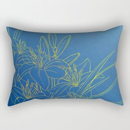 Day Lily Blue Rectangular Pillow