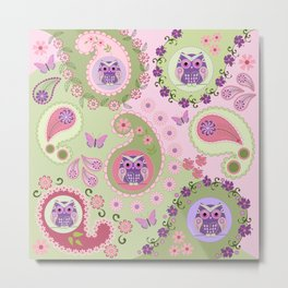 Retro paisley shapes with cute owls and flowers Metal Print