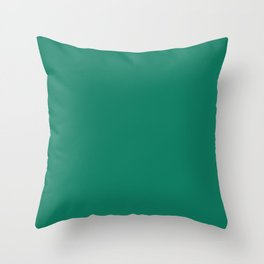 Deep Green-Cyan Turquoise - solid color Throw Pillow