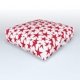 Red stars on white background illustration Outdoor Floor Cushion