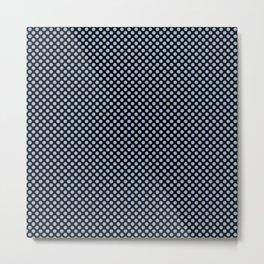 Black and Cerulean Polka Dots Metal Print