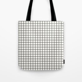 Black Grid on White Tote Bag