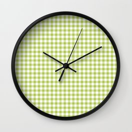 Lime Green Gingham Wall Clock