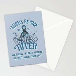 Funny Octopus Scuba Diver Quote Stationery Cards