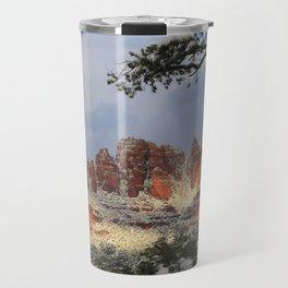Red Rocks and Snow Travel Mug