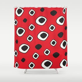 Abstract Red and Black Graphic Shower Curtain