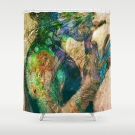 Girl with baloon Shower Curtain