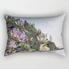 Smuggler Cove Simplicity - Film Double Exposure on the Oregon Coast with Flowers Rectangular Pillow