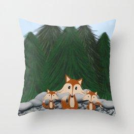 The Fox Family Throw Pillow