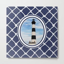 Bodie Island Lighthouse-North Carolina -With Nautical Netting Background on Blue Depths Metal Print