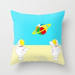 Space Odyssey   Astronaut Beach   Beach Ball   Summer   Sea   Seaside   Ocean   pulp of wood Throw Pillow