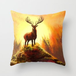 Stag Upon The Hill Throw Pillow