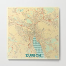 Zurich Map Retro Metal Print
