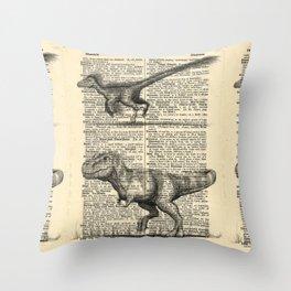 Dictionary Dinosaurs Throw Pillow