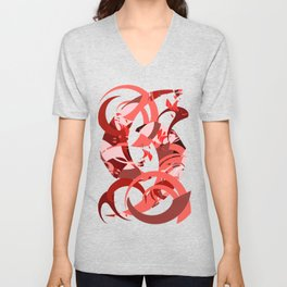 Abstract Curls - Burgundy, Coral, Pink Unisex V-Neck
