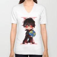 chibi V-neck T-shirts featuring Chibi Kamui by Neo Crystal Tokyo