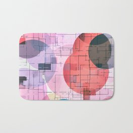 geometric square and circle pattern abstract in red pink blue Bath Mat