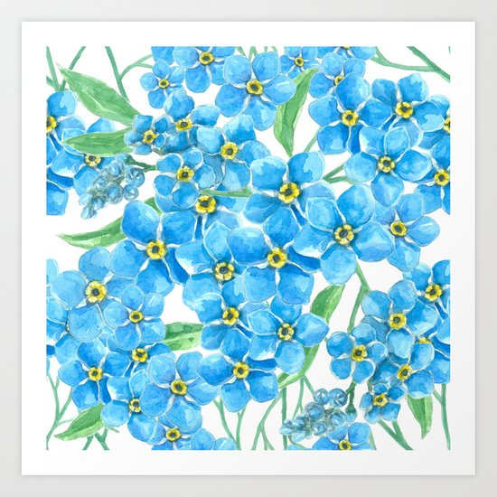 Forget me not seamless pattern Art Print