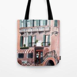 Italy coffee shop watercolor Tote Bag