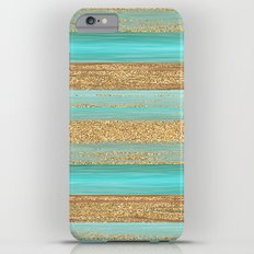 Turquoise Brown Faux Gold Glitter Stripes Pattern iPhone 6s Plus Slim Case