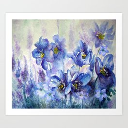 Watercolor Poppies and Lilies Art Print