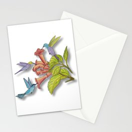 Hummingbirds and Trumpet Flowers Stationery Cards