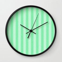 Lanai Lime Green - Acid Green Herringbone Pattern Wall Clock