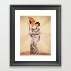 polygonal japanese dancer Framed Art Print