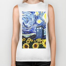 tardis staryy night  Flower Biker Tank