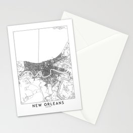 New Orleans White Map Stationery Cards