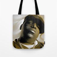 biggie smalls Tote Bags featuring The Notorious B.I.G (Biggie Smalls) by darylrbailey