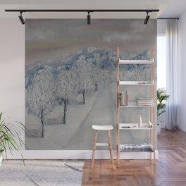 Winter Path, Original Contemporary Oil Painting, Modern Art, Fine Art by Lu aka Luna Smith Wall Mural