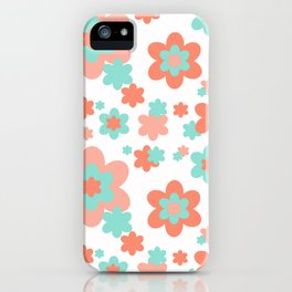 Coral and Mint Green Floral iPhone Case
