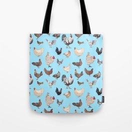 Chicken Happy (blue) Tote Bag