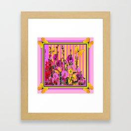 YELLOW BUTTERFLIES  PINK FLORAL GARDEN  ABSTRACT Framed Art Print