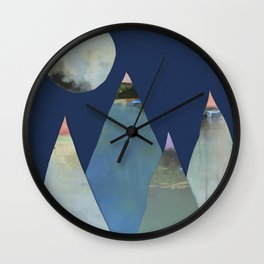 Full Moon Night Sky and Mountains Wall Clock